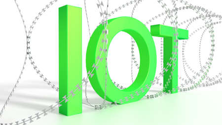Big green word IOT surrounded by barbed wire on white security concept 3D illustration