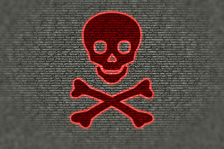 fading: Red skull symbol on top of grey fading computercode ransomware concept Stock Photo