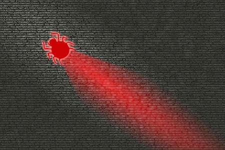 Bug kruipend over wazige computercode die het onderweg infecteert Stockfoto