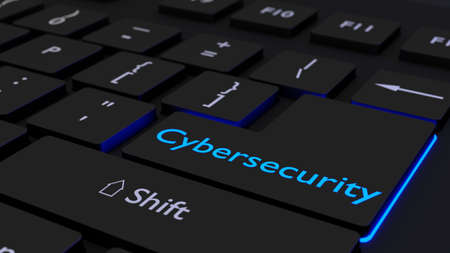 Black keyboard where the enter key is glowing blue showing the word cybersecurity information security concept 3D illustration