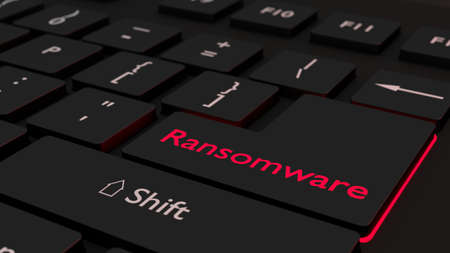 Black keyboard where the enter key is glowing red showing the word ransomware cybersecurity concept 3D illustration Standard-Bild