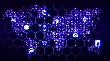 World map with glowing data centers in blue with a hexagon grid and iot symbols on top Stock Photo