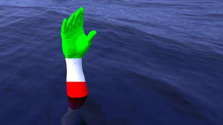 Pintados à mão nas cores da bandeira italiana que alcançam fora do oceano para a ajuda dos refugiados salvam a ilustração do conceito 3D Foto de archivo - 82802930
