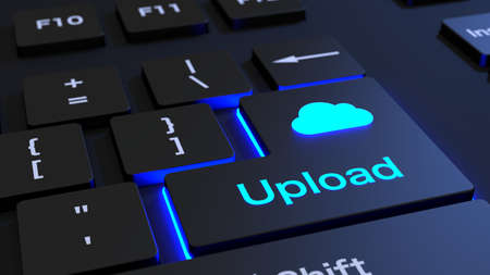 Black keyboard where the enter key is glowing blue showing the word upload and a cloud symbol cloud computing  concept 3D illustration Stock Photo