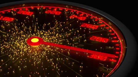 センター 3 D イラストレーションから最大出力に達する赤で速度計測器の火花します。