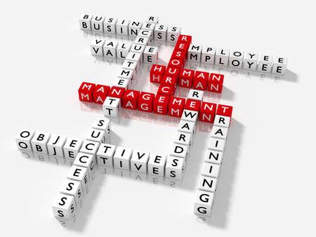 Kruiswoordraadsel met HRM sleutelwoorden human resource management concept 3D illustratie
