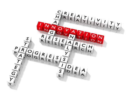 Crossword puzzle with innovation keywords business concept 3D illustration