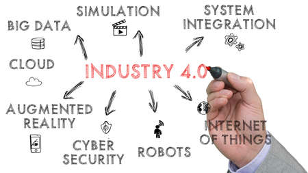 Handschetsen industrie 4,0 sleutelwoorden op een whiteboard met iconen Stockfoto