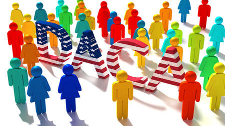 The word DACA with an american flag texture surrounded by a group of differently colored people immigration concept 3D illustration Stock Photo
