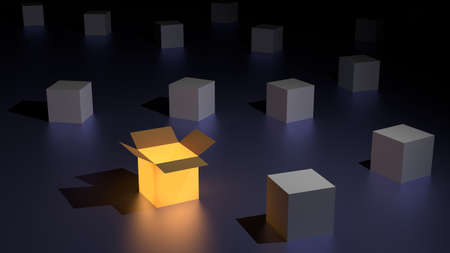 Orange glowing open box among many grey closed boxes individuality concept 3D illustration