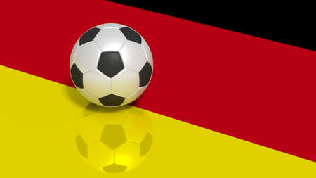 Black and white soccer ball on a reflecting german flag 3D illustration
