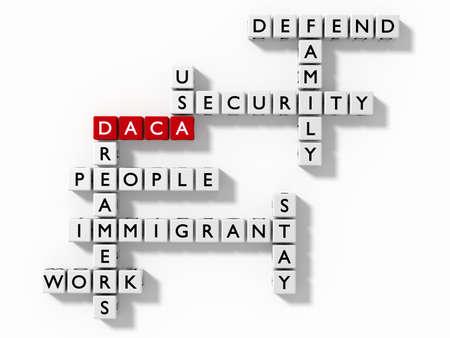 Crossword puzzle with DACA keywords immigration concept flat design 3D illustration