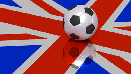 Black and white soccer ball on a reflecting britisch flag 3D illustration Фото со стока