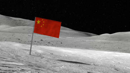 Chinese flag stuck in the rocky moon surface with stars and moonscape in the background 3D illustration Banco de Imagens