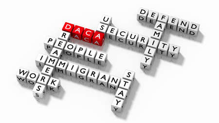Crossword puzzle with DACA keywords immigration concept 3D illustration