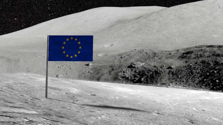 European flag stuck in the rocky moon surface with stars and moonscape in the background 3D illustration