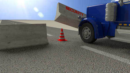 Blue truck hits concrete roadblock on a sunny day pushing away the barrier 3D illustration