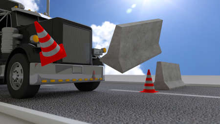 Black truck hits concrete roadblock on a sunny day pushing away the barrier 3D illustration