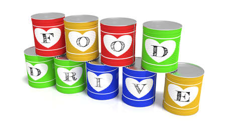 Nine stacked tin cans in different colors each with a letter of the words food drive charity 3D illustration 스톡 콘텐츠