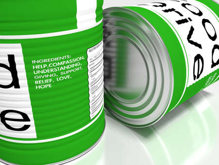 Closeup of two green food cans with the ingrediences of charity food drive help concept 3D illustration