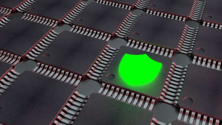 Grid of black cpus with shining green shield icon cybersecurity concept 3D illustration