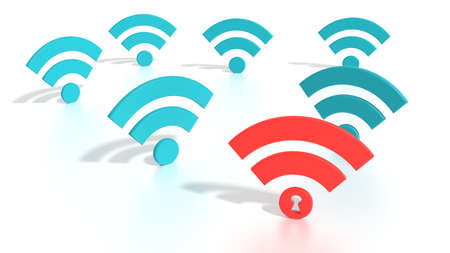 Red wifi symbol among blue wireless icons on white where the dot has a keyhole compromised WPA2 wifi network cybersecurity 3D illustration Stock Photo