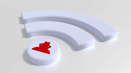 White Wifi symbol with a red hacker on the dot on white background cybersecurity compromised WPA 2 encryption concept 3D illustration Stock Photo