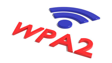Red word WPA 2 network encryption and a blue wifi symbol on white backdoor cybersecurity concept 3D illustration