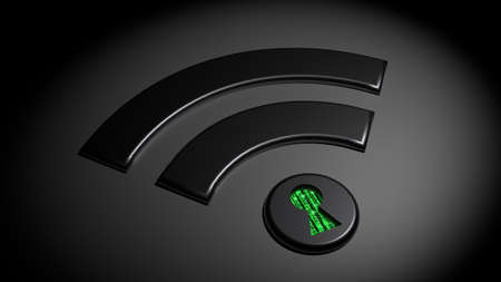 Black wifi symbol in the dark where the dot has a keyhole revealing green matrix binary streams compromised WPA2 wifi network cybersecurity 3D illustration Stock Photo