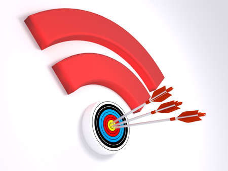 Three arrows hitting the dot of a wifi symbol textured with a target WPA2 krack cybersecurity concept 3D illustration
