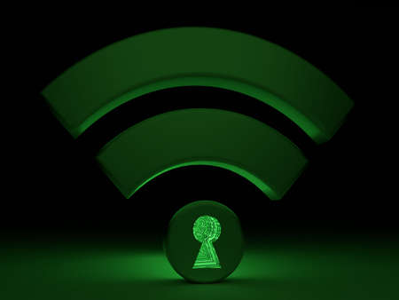 Glowing green wifi symbol in a dark room with a keyhole in the dot textured with a green matrix WPA2 cybersecurity concept 3D illustration Stock Photo