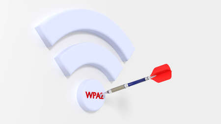 White Wifi symbol with WPA2 on the dot on white background hit by a dart cybersecurity compromised WPA 2 encryption concept 3D illustration Stock Photo