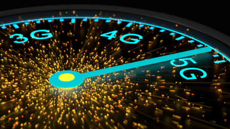 Speed instrument in blue reaching maximum 5G communication speed emitting sparks from the center 3D illustration Stock Photo