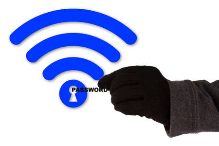 Hand with glove taking the word password of a blue wifi symbol with a keyhole WPA2 backdoor krack cybersecurity concept Stock Photo