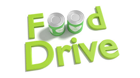 The words food drive on white where the o of food are replaced by two tin cans charity concept 3D illustration