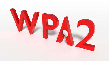 Red word WPA 2 network encryption where the A is shaped by a keyhole backdoor cybersecurity concept 3D illustration Stock Photo