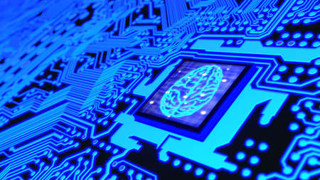 Blue glowing circuit board and a CPU with a brain symbol on top machine learning concept 3D illustration Stok Fotoğraf