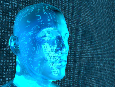 Glass head in front of random letter background reflecting blue alphabet machine learning concept 3D illustration