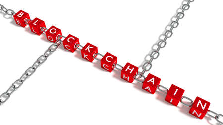 The word blockchain on red cubes connected by iron chain elements 3D illustration Stock Photo