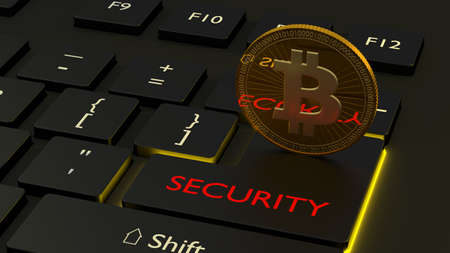 One golden bitcoin standing on the enter key of a black computer keyboard with the word security cryptocurrency safety concept 3D illustration