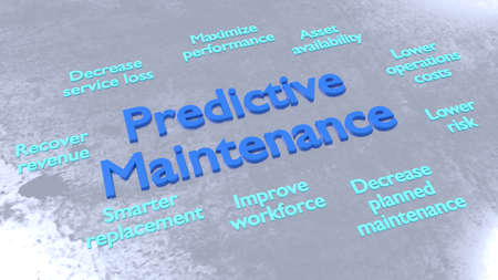 Predictve maintenance keywords surrounding big blue letters on metal surface 3D illustration