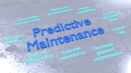 Predictve maintenance keywords surrounding big blue letters on metal surface 3D illustration