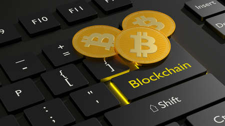 Three golden bitcoin on the enter key of a black computer keyboard with the word blockchain cryptocurrency concept 3D illustration Stock Photo