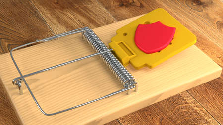 Moustrap with a red shield as bait cybersecurity concept 3D illustration