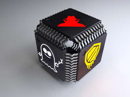 Cube made of computerchips with a meltdown spectre and hacker symbol on the sides cybersecurity 3D illustration