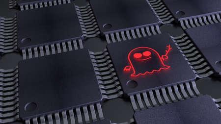 Grille de jetons avec un symbole de spectre rouge sur une illustration 3D du concept de cybersécurité cpus