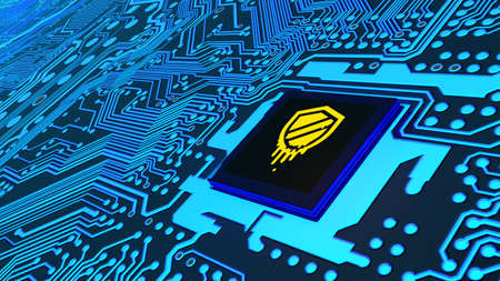 Meldown symbol on the chip of a blue circuit board cybersecurity 3D illustration