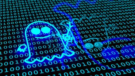 fantôme bleu symbole flottant sur le sol binaire icône du sol de la cartographie 3d illustration