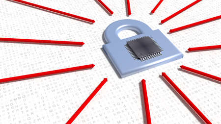 Red arrows hitting a silver padlock on random letter floor with cpu on top cybersecurity concept 3D illustration Stok Fotoğraf