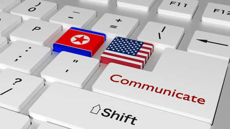 White keyboard with north korea and us key and the word communicate on the enter button 3D illustration